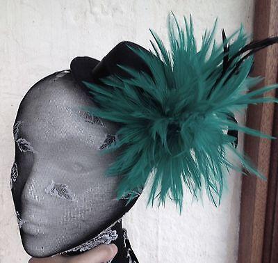 Dark Green Top Hat (dark green feather black mini top hat fascinator headpiece fancy dress hair)