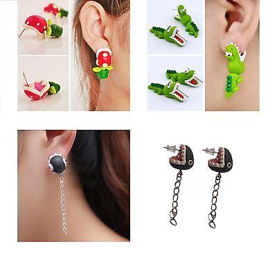 2pcs 1 Pair Illusion Earrings Super Mario Theme Chopper Animal and Alligator USA