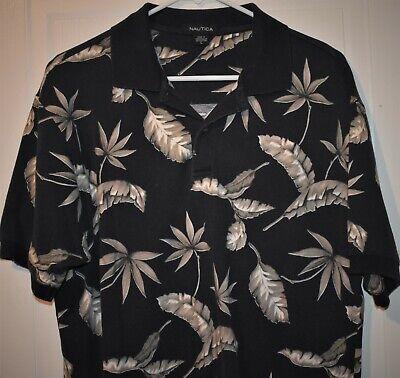 Nautica Polo Golf Shirt Mens Size L Blue Hawaiian Short sleeve VTG Palm Trees