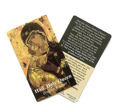 HAIL HOLY QUEEN / SALVE REGINA - ENGLISH & LATIN Prayer Card - Wallet Size