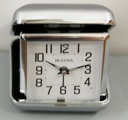 BULOVA- SMALL TRAVEL ALARM CLOCK TRAVELER B6123