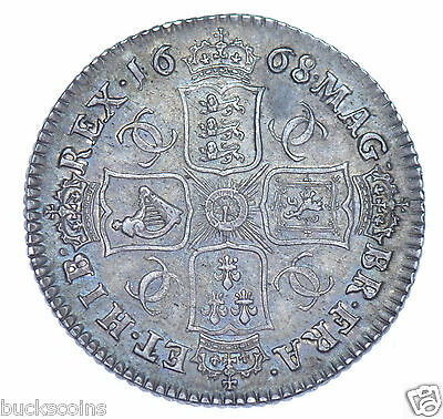 1668 SHILLING BRITISH SILVER COIN FROM CHARLES II aEF+