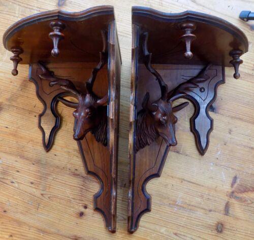 Pair ANTIQUE Black Walnut CORNER SHELVES Carved Applied DEER HEADs