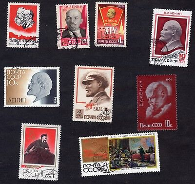 Russia: Selection of Lenin themed stamps; used
