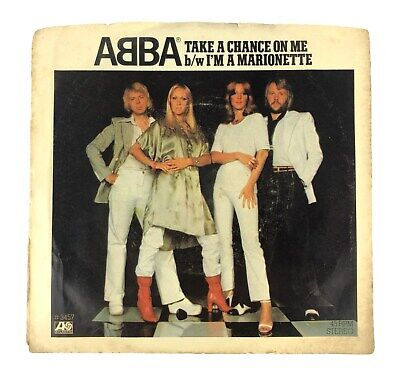 """ABBA 45 RPM Picture Sleeve Record """"Take A Chance On Me / I'm A Marionette"""" 1977"""