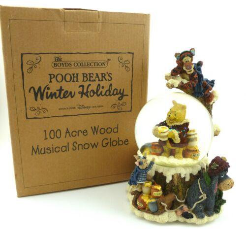 "Rare Holiday Boyds Bears Winnie The Pooh ""Pooh Bears Winter Holiday"" Snow Globe"