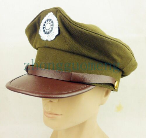 WW2 CHINESE KMT UNIFORM OFFICER HAT CAP MILITARY PEAKED CAP SIZE XL