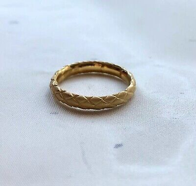 Carrera Y Carrera 18K Yellow Gold Basket Weave Band 7 with box