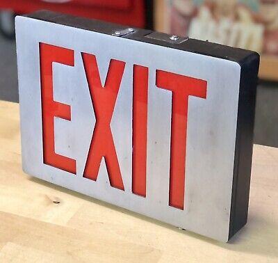 Vintage Red Exit Sign Metal Aluminum Industrial Illuminated Lighted Box Garage