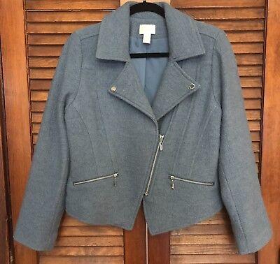 - Chicos Montauk Blue Moto Jacket Boiled Wool Zip Front Size 1