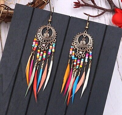 Jewellery - Long Boho Feather Bead Tassel Fringe Earrings Fashion Jewellery Vintage Tribal
