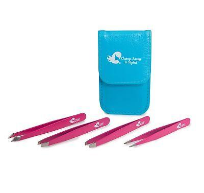 Best Tweezers - Tweezers 4 Piece Precision Set for Eyebrow; Eyelash; Long and Pointed Tweezer