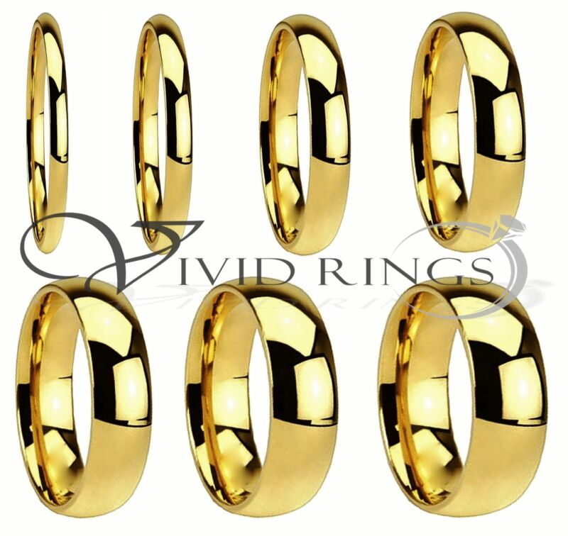 Men & Women Gold Plated Stainless Steel Wedding Band Ring Size 4 to 14.5