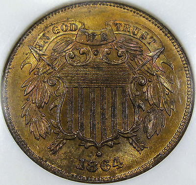 1864 TWO CENT PIECE NGC/CAC MINT STATE 64RBFLASHY, PRETTY TONE, PQ FATTY NGC HOLDER