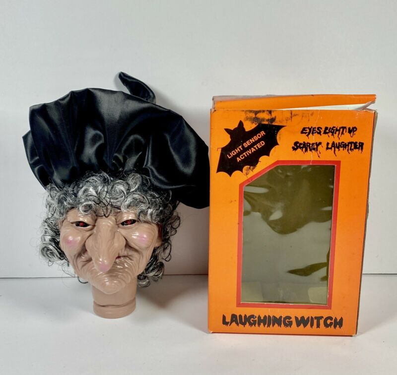 Vintage Witch Laughs Screaming Eyes Light Up Halloween Hanging Decoration
