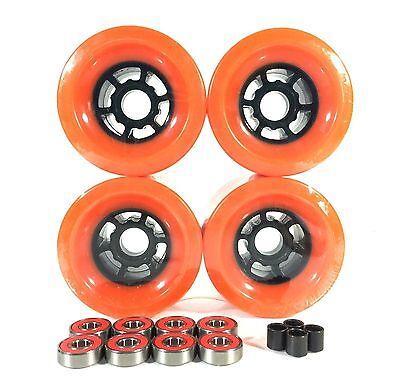 Blank Pro 90mm Orange Longboard Flywheels + ABEC 7 Bearings + Spacers