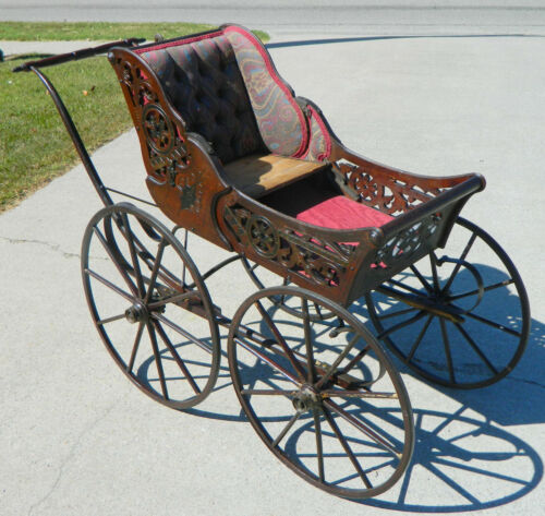 Walnut Victorian Baby Carriage Buggy Stroller circa 1880