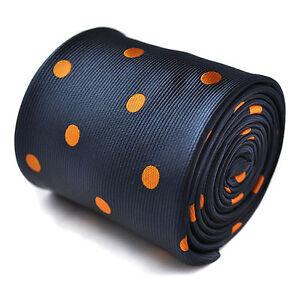 Frederick-Thomas-Navy-e-arancione-a-pois-a-pois-CRAVATTA-ft1410