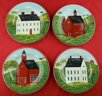 Set of 4 Warren Kimble Brandon House Sakura Country Life Salad / Dessert Plates used & Warren Kimble Plates for sale | Only 3 left at -70%
