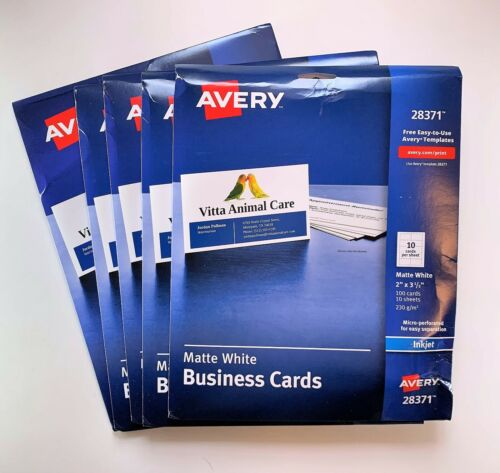 Avery Ink-Jet Printer White Business Cards (28371) Damage Packs 5 pk of 100 ct