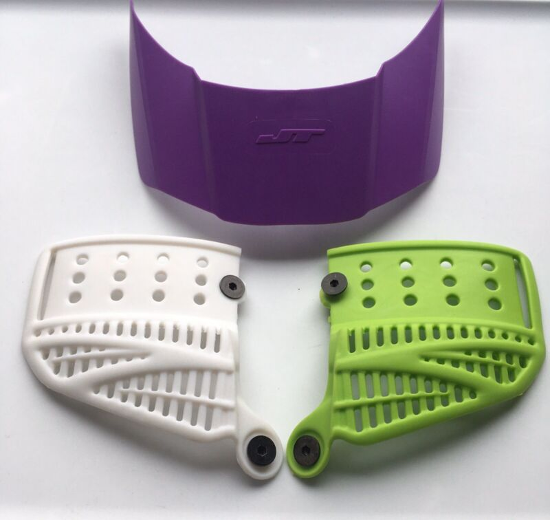 NEW JT Proflex White Lime Green Soft Revo 2.0 Ear & Purple Visor Paintball