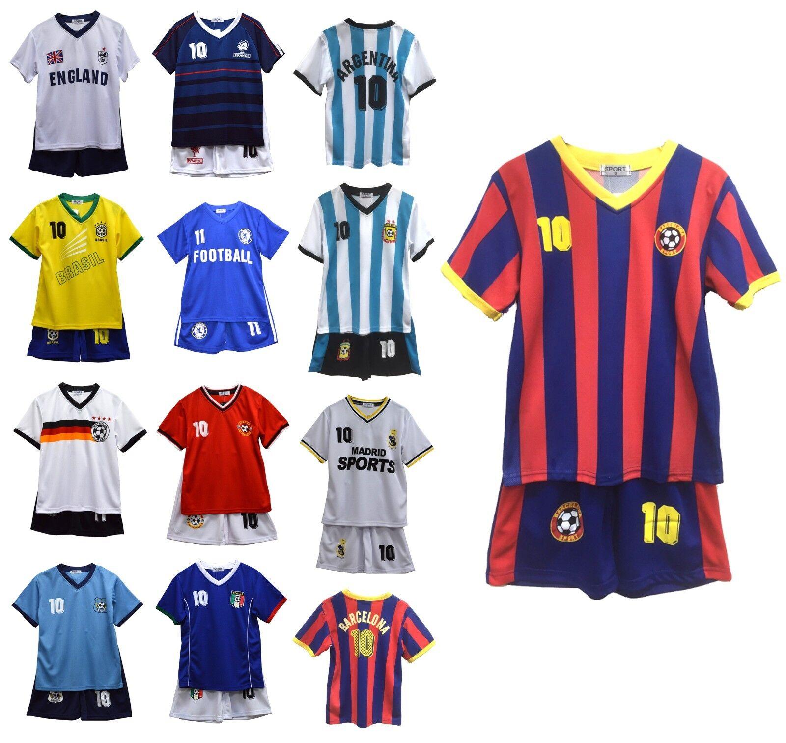 Kinder Jungen Fußball Top und Short Set T-Shirt und Shorts Outfit Alter 2-13 Jah