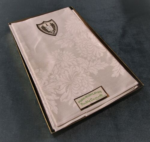 ERINORE 8 Irish Linen Damask Formal Dinner Napkins New Old Stock Original Box