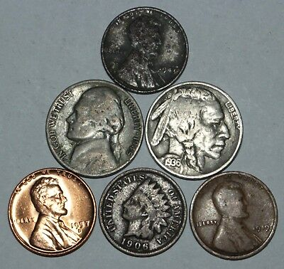 Old Us Coin Lot  Silver  Indian Head Pennies  Buffalo Nickels  Lot Of 6 Coins