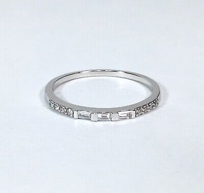 14K White Gold Baguette & Round Diamond Wedding Band / Stacking Ring Sz. 8.25