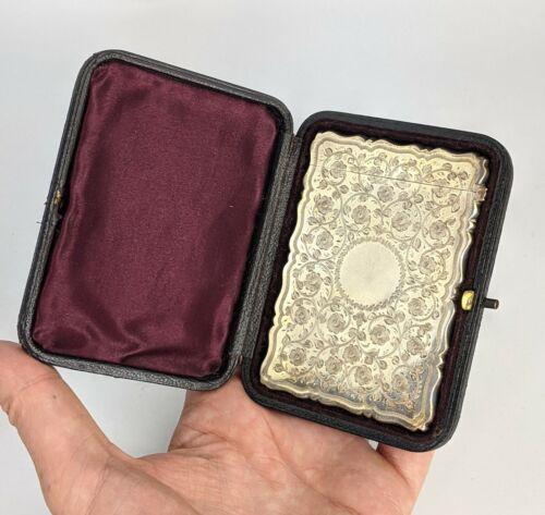 a Fine Antique Silver Card Case in Fitted Case - George Unite 1898 Birmingham