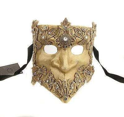Mask from Venice Bauta Macrame Golden Authentic Venetian 270 V9