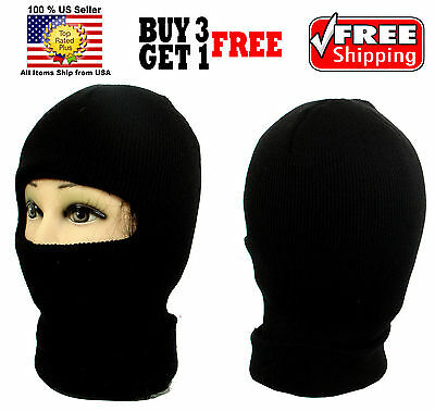 5d8f2471387 BLACK ONE 1 HOLE FACE MASK WINTER THERMAL WARM KNIT LONG BEANIE SKI  BALACLAVA