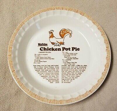 Chicken Pie Pan (WATKINS CHICKEN POT PIE Ceramic Recipe Plate Pan Baking Dish Display 1981 EUC)