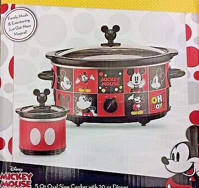 NEW Disney Mickey Mouse 5 Qt Slow Cooker with 20 oz Dipper SET * FREE SHIPPING !