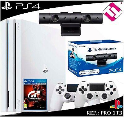 PS4 PLAYSTATION 4 PRO 1TB BLANCA + 2 MANDOS BLANCOS SONY + CAMARA VR ORIGINAL segunda mano  Caballo Blanco
