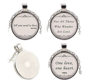 Silver-Quote-Necklaces-Pendants-Movie-Music-Song-Lyrics-Religion-Poetry-Gifts