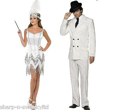 Couples Ladies & Mens White 1920s Gangster Flapper Fancy Dress Costumes Outfits - 1920s Outfits Men