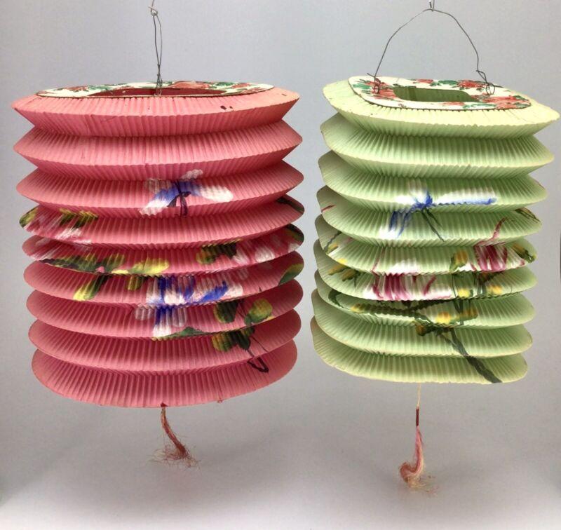 2 Vintage Asian Chinese Japanese Paper Accordian Hanging Lanterns Hong Kong 001