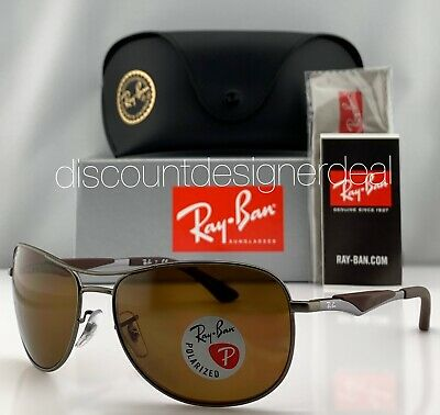 Ray-Ban RB3519 Pilot Sunglasses 029/83 Brown Gray Brown Polarized Lens 64mm (Ray Ban Polarized Aviators Womens)