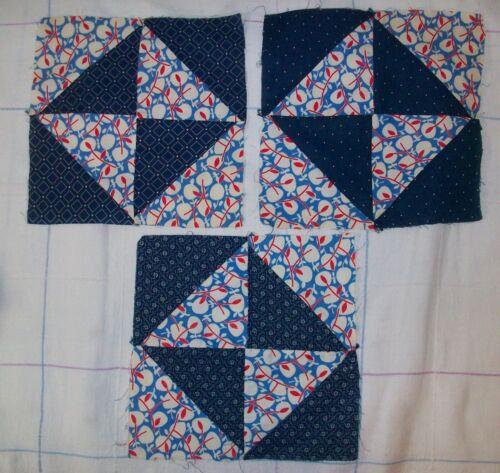 29 Antique Vintage Hand Stitched Blue Cotton Print Quilt Block Squares