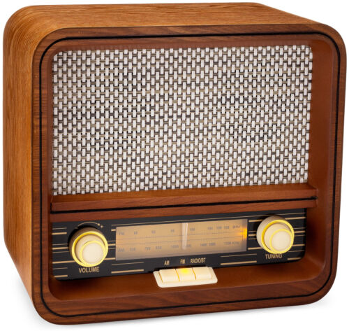 ClearClick Classic Vintage Retro Style AM FM Radio with Bluetooth & Aux-in