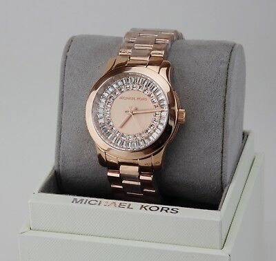 NEW AUTHENTIC MICHAEL KORS RUNWAY ROSE GOLD BAGUETTE CRYSTALS WOMEN MK6533 WATCH