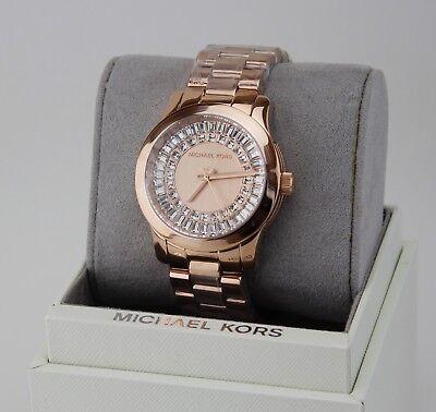 NEW AUTHENTIC MICHAEL KORS RUNWAY ROSE GOLD BAGUETTE CRYSTALS WOMEN MK6533 -