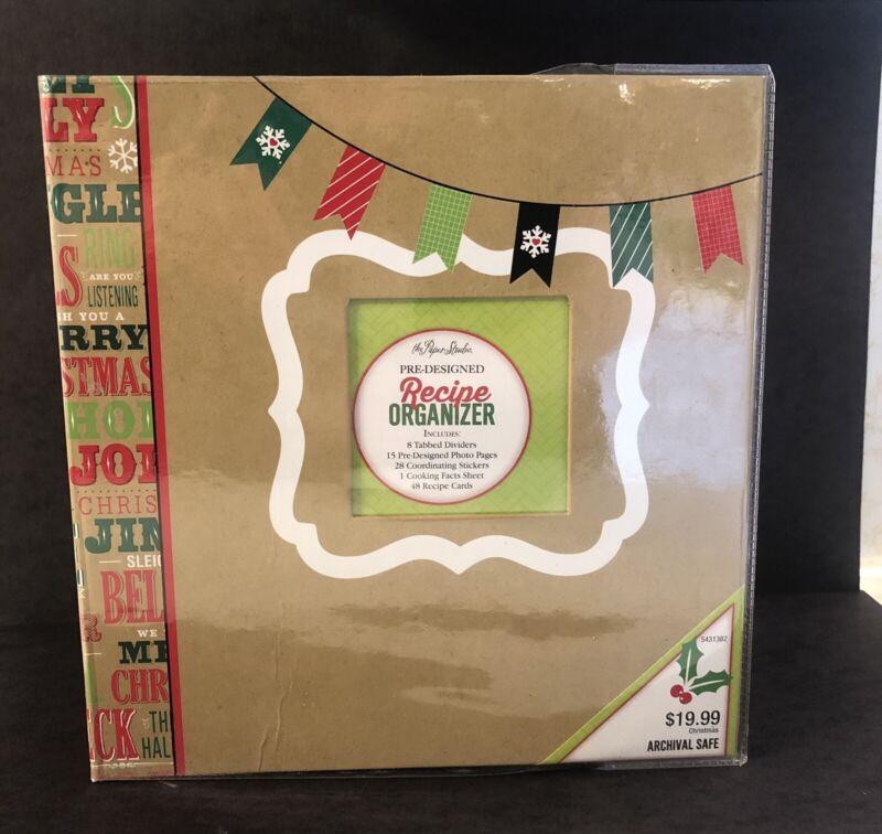 The Paper Studio Red Green Kraft Pre Designed Christmas Recipe Holder Binder NWD