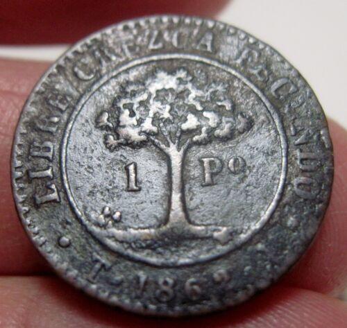 1862 TA ( HONDURAS (1 PESO)  TEGUCIGALPA  --Provisional Coinage    --RARE-