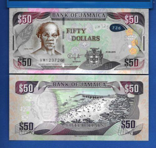 Jamaica P-94 50 Dollars Year 1.6.2015 Uncirculated Banknote