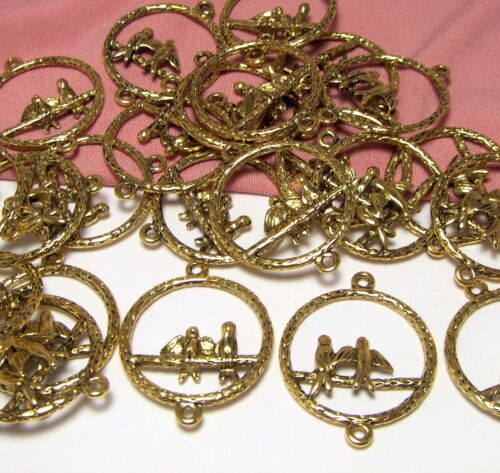 35 Gold Bird-Perch-Swing-Earring Components-Connectors-Drops-Findings-Jewelry