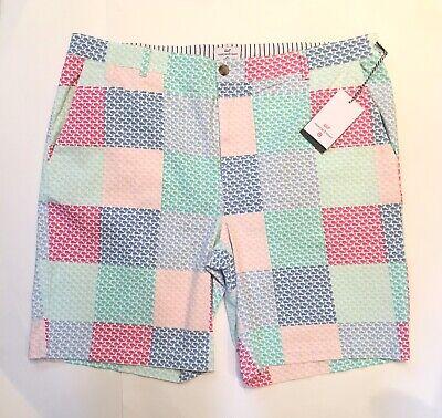 Vineyard Vines Target Kids Boys Patchwork Whale Shorts Pink Blue XL 16 ON HAND