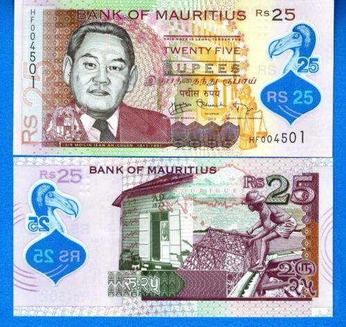 Mauritius P-64 25 Rupees Year 2013 Uncirculated Polymer