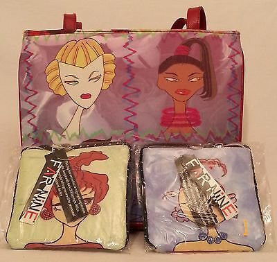 Far Nine Lot 3 Diva Doll Face Purse Bag Redhead Tote Cosmetic Coin New